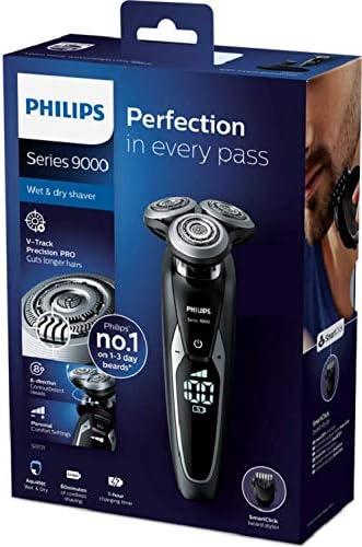 Philips SHAVER Series 9000 S9721/41 - Afeitadora (Máquina de afeitar de rotación, V-Track blade system PRO, SH90, 2 año(s), Negro, Plata, Batería): Amazon.es: Hogar