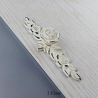 Rosa blanca Flor Muebles Tiradores de cocina Armarios de puertas correderas Tiradores de armario Armario Armario Empuñaduras de empuje, 145 mm: Amazon.es: Bricolaje y herramientas
