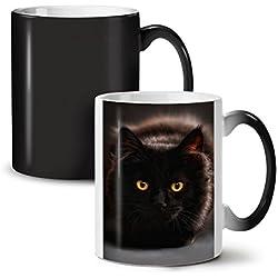 d027e26bcb6 Black Cat Mug Fluffy Whiskers Black Colour Changing Tea Coffee Ceramic Mug  11 oz | Wellcoda