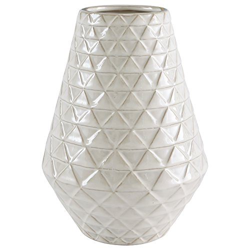 Stone & Beam Modern Farmhouse Triangle Pattern Stoneware Home Decor Flower Vase - 9 x 6.6 Inches, Ecru ()