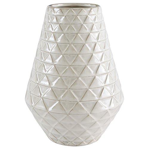 "Stone & Beam Modern Triangle Pattern Stoneware Vase, 9""H, Ecru"