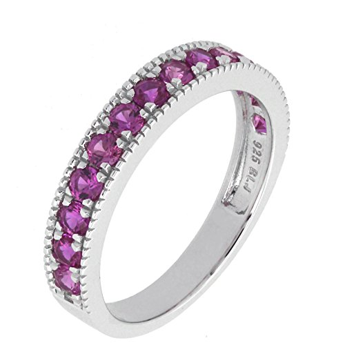 (BL Jewelry Sterling Silver Created White Blue Pink Sapphire Stackable Half Eternity Band Ring (5, pink-sapphire))