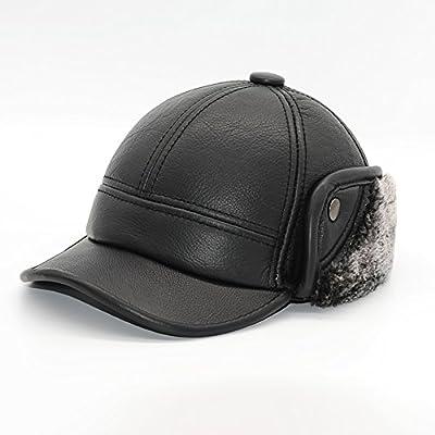 Maylian Winter Black Genuine Leather Mens Baseball Bomber Hat Cap