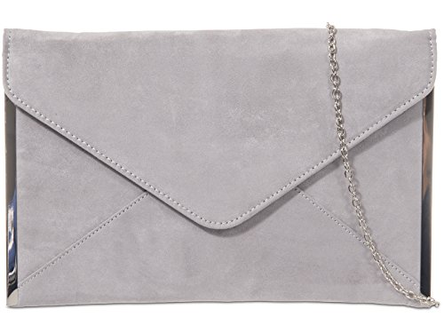 With Bag Ladies Envelope Grey Tone Silver Handbag Shoulder Prom Clutch Trim Suede Faux Evening Bag Wedding 0HFgwqS4gW