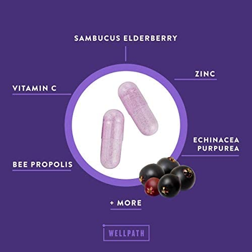 Shield 5-in-1 Immune Support Supplement – Premium Elderberry Immune System Booster with Zinc, Vitamin C, Echinacea, Bee Propolis – 600 mg Sambucus Black Elderberry Pills for Adults – 60 Ct Capsules