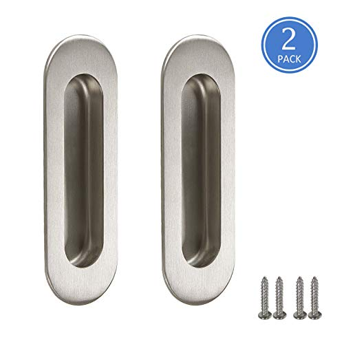 Knobonly Stainless Steel Cabinet Handles 120mm Long Sliding Door Cabinet Drawer Pulls Oval Flush Pull Handles, Concealed Screws, 2 Pack