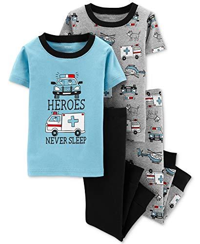 (Carters Boys 4-Piece Snug Fit Cotton PJ Set, Heros, 24 Months)