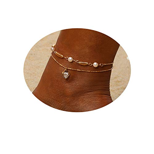 Heart Multilayer Metal Anklet Zircon Pearl Crystal Shell Adjustable Tassel Anklet Beads Sea Handmade Layered Boho Anklet Foot Jewelry Rose Gold Chain Anklet Heart Beach Anklet for Women and Girls