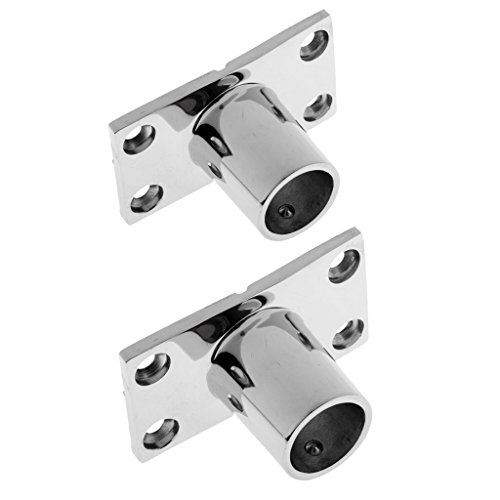 Almencla 2X Boat Yacht Hand Rail Fitting, 90 Degree Stanchion Mount Hardware Rectangular Base for 7/8inch 1 inch Tubes - Silver, 316 Stainless Steel ()