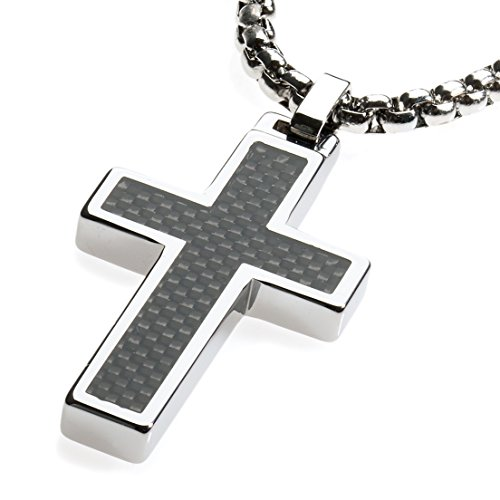 ten Cross Pendant .4mm Surgical Stainless Steel Box Chain. Black Carbon Fiber Inlay. 22 inch Chain. (Stainless Steel Tungsten Cross)