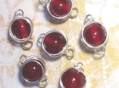 Qty 10 - Vintage 10mm Dk Red Glass Beads Silver Plated Hand