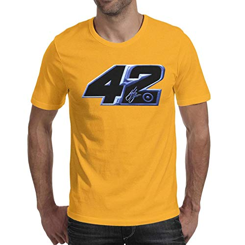 SHTHYTS Yellow Fans 100% Cotton O-Neck Short Sleeve Tee T Shirt for Men (Nascar Club Fan)