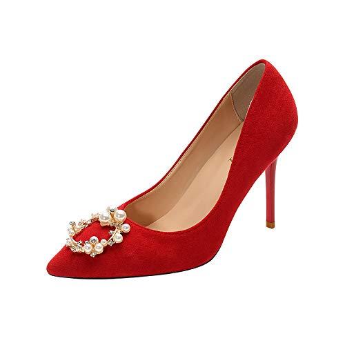 HRCxue Pumps Pumps Pumps Brautschuhe Hochzeit Schuhe rote Strass Brautjungfer Schuhe wies High Heels Stiletto einzelne Schuhe weiblich 5cm, 39, rot 9cm 4fe088