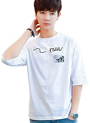 Gobuye Tシャツ メンズ 五分袖 Tシャツ 七分袖 メンズ tシャツ ロングtシャツ 黑 白 無地 春夏季対応 夏服 トップス おしゃれ G005