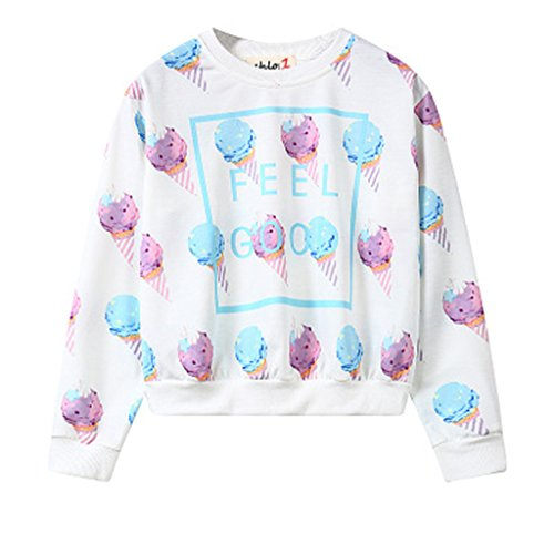Jiayiqi Mujer Colorida Impresión Ocasional De La Camiseta De Manga Larga Tops Suéteres No 5