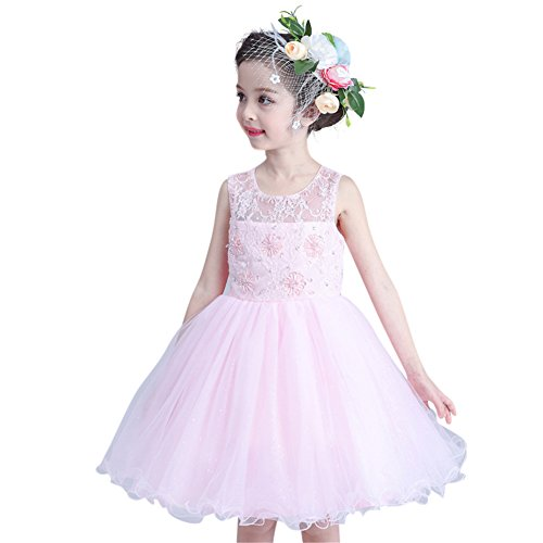 GuaGuaEgg Lace Embroider Beading Girls Party Princess Dress Pink 14 ()