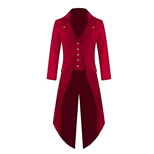 Cosplay Rouge Veste Steampunk Uniforme Vintage Long Homme Gothic Manteau Shujin Tuxedo Costume Carnaval AqH8wgSqx