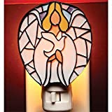 Angel with Wings Holding Dove Mosaic Plug In Night Light Luminaire