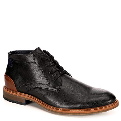 Black Boot Leather Dress (Restoration Mens Wayne Leather Chukka Ankle Boot Shoes, Black, US 9)