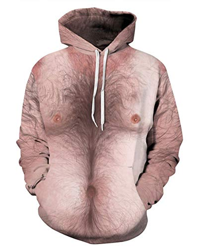 Chest Pocket Lightweight Pullover - RAISEVERN Unisex 3D Chest Hair Sweatshirt Hispter Graphics Hoodie Pullover with Pockets Hoody for Women Men
