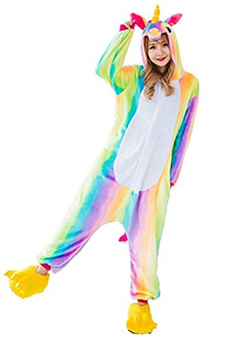 Missley Adult Unisex Flannel Animal Pyjamas Novelty Unicorn Nightwear Cosplay Costumes Halloween (XL, Colorful) ()