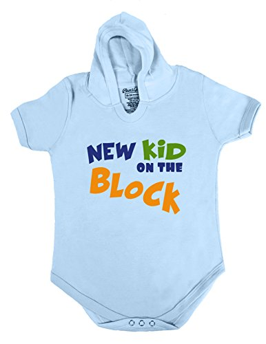 8 HOODIE BABY ROMPER SHORT SLEEVE ONESIE UNISEX FUNNY NEW KID ON THE BLOCK GIFT POLY BAGGED A&G BRAND (6-12 Months, Light Blue)