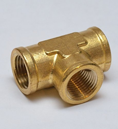 FasParts T 3 Sided Pipe Tee Intersection Brass Fitting 1/2'' NPT Female / FPT T 3 Way Tee Brass Fitting Fuel / Air / Water / Boat / Gas / Oil WOG