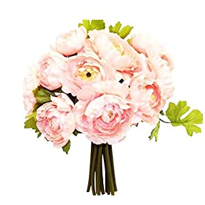 "12"" Ranunculus Artificial Silk Wedding Bridal Bouquet Flowers 16 Heads (Peach) 120"