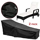 feifei 2 Pack Waterproof Patio Chaise Lounge Covers Durable Fabric Sun Recliner Protective Covers(82'' X 29'' X 31'')
