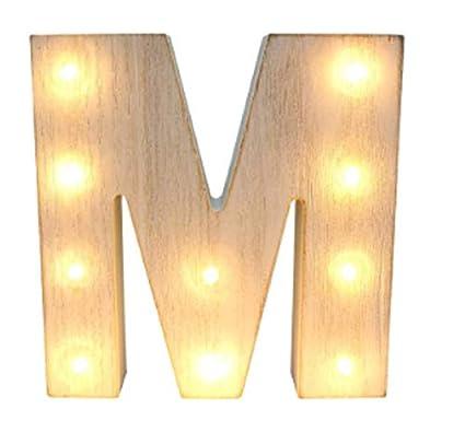 a270805cd85 Amazon.com  Light Up Letter M Whitewashed Wooden Alphabet Letters ...