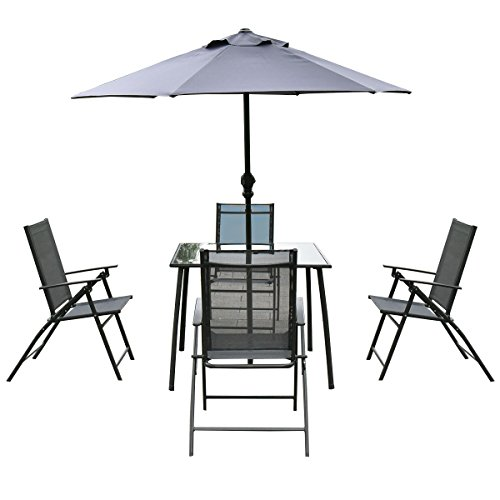 Giantex 6PCS Patio Garden Set furniture 4 Folding Chairs Table with Umbrella Gray
