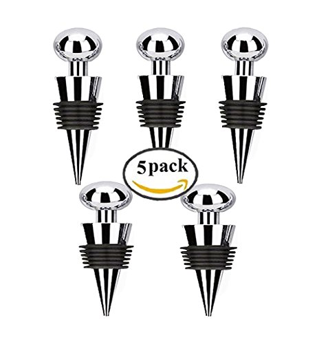 Bailyn Stainless Steel Red Wine Bottle Stopper Ball Design wine plug set of 5-Reusable wine saver cap for Wedding, Home decoration,party,bar,wine gift