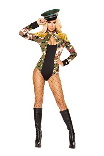 Army Babe Costume (Fest Threads 1 PC Army Military Babe Camouflage Long Sleeve Romper Party)