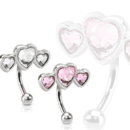 Triple Heart 316L Surgical Steel WildKlass Eyebrow Curve WildKlass Barbell with Paved Heart Shaped CZs (Sold by Piece)