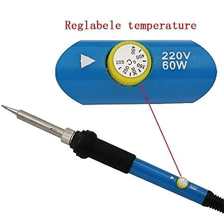 Tomkity Set de soldador Juego de Soldador Eléctrico Temperatura Ajustable con Herramientas de Arranque de Soldadura: Amazon.es: Bricolaje y herramientas
