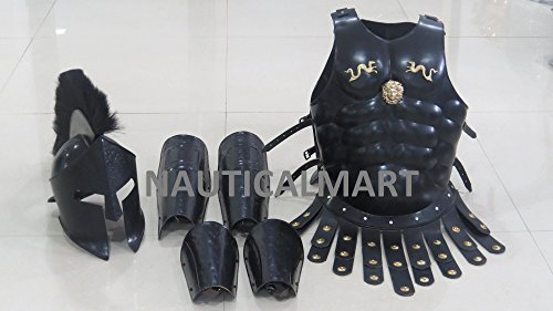 [Medieval Roman King Leonidas 300 Spartan Helmet W/Black Plume + Muscle Armor + Leg Or Arm Guard By] (300 Spartan King Leonidas Costume)