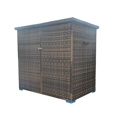 All Weather Outdoor Patio Storage Box Wicker Garden Shed Rattan Deck Box 39 Sq Ft Storage Area