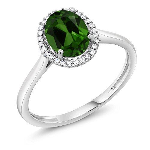Gem Stone King 10K White Gold Diamond Halo Engagement Diamond Ring 1.20 Ct Oval Green Chrome Diopside (Size 5) ()