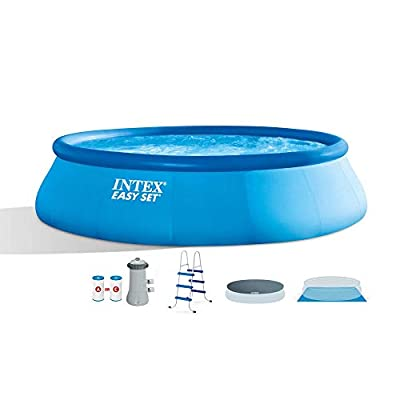 """Intex 15' x 42"""" Inflatable Easy Set Above Ground Swimming Pool w/Ladder & PumpIntex 15 Foot Easy Set Above Ground Swimming Pool Debris Vinyl Round Cover Tarp"""