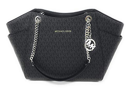 MICHAEL KORS SIGNATURE JET SET TRAVEL CHAIN SHOULDER TOTE BAG BLACK PVC