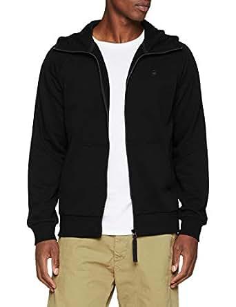 G-Star Raw Men's Strett Dc HDD Zip Thru Sw L/S Hoodies & Sweatshirts, Dark Black, Extra Small