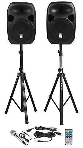 Rockville RPG122K Dual 12-inch Powered Speakers With Stands and Microphone - Black