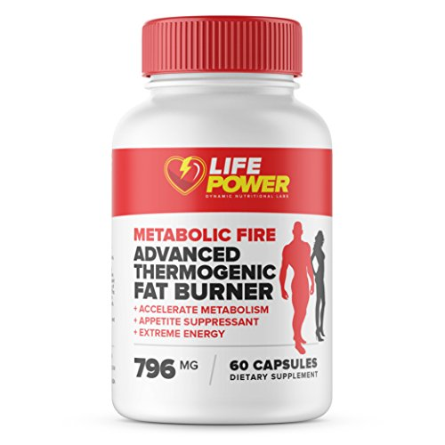 METABOLIC FIRE- Thermogenic Fat Burners for Women & Men. Best Pre Workout to Boost Metabolism, Increase Energy- Suppress Appetite with Green Tea, Chromium, Caffeine. 60 Caps by Life Power Labs USA.