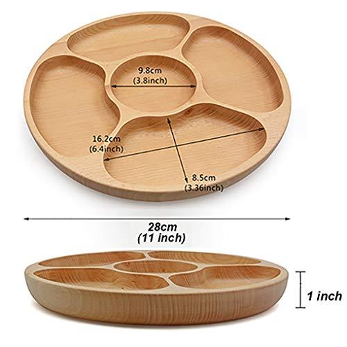 Best Wood Divided Serving Tray 11 inch Round Dessert Dish Sandwich Appetizer Salad Plates Vegetable Cheese Platter by Ren Handcraft (Image #5)