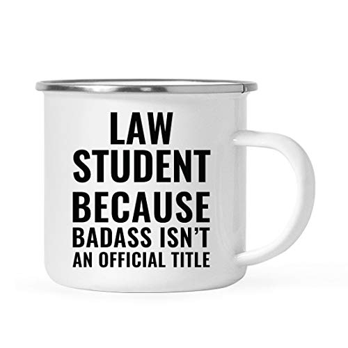 Andaz Press 11oz. Campfire Enamel Mug Gift, Law Student Because Badass Isn't an Official Title, 1-Pack, Stainless Steel Metal Camp Cup Christmas Birthday Present Ideas, Includes Gift Box