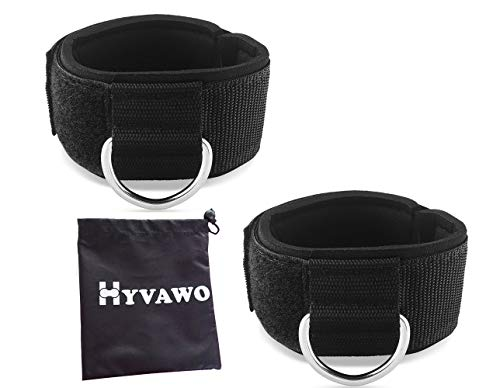 (HYVAWO Ankle Strap Neoprene Padded Fitness Wrist Cuff with D Ring High Strength Exercises Belt Gym Pulley Strap for Cable Machines (Black 2 pack))