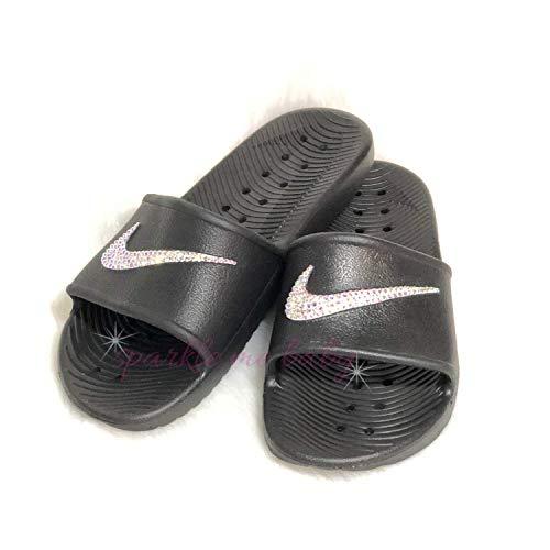 0d5e63d3c5d02 Swarovski Black Nike Kawa Slides for Women - Bling for the gym - Customized  by SparkleMeBaby2u