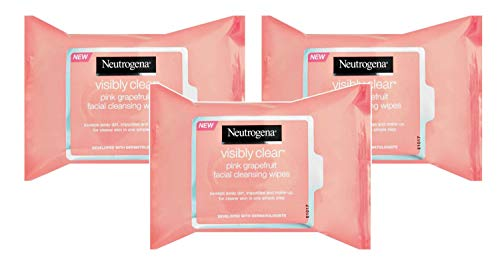 Neutrogena Oil-Free Facial Cleansing Wipes with Pink Grapefruit, 25 Count (Pack of 3)