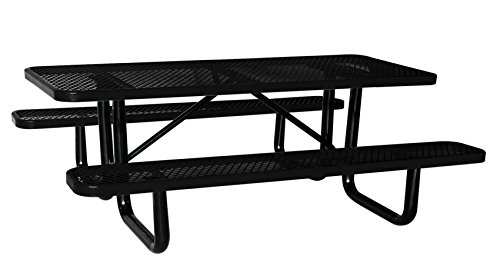 "Lifeyard 8 ft. Rectangular Picnic Table, Expanded Metal, Black (96"" Long)"