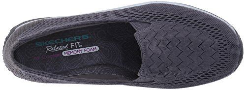 Charcoal Skechers Women's Mesh Willows Fest Black Reggae Flat rq7wOqdBYx